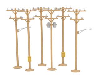 30-1091 O Scale MTH RailKing 6-Piece Telephone Pole Set