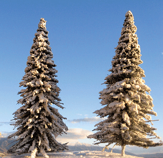 "295-T13(A) Grand Central Gems 3""-9"" Tall Pine Trees w/Snow (7)"