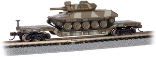 71388 N Scale Bachmann 52' Center-Depressed Flat Car-Green Camo w/Sheridan Tank