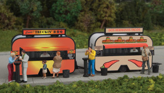 949-2904 HO Scale Walthers SceneMaster BBQ and Taco Food Trailers