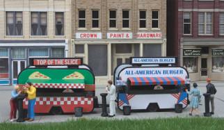 949-2903 HO Scale Walthers SceneMaster Pizza and Hamburger Food Trailers