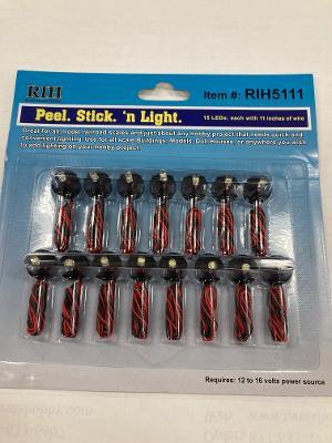 RIH5111 HO, O Scale Rock Island Hobby Peel Stick 'n Light 15/Pc LED