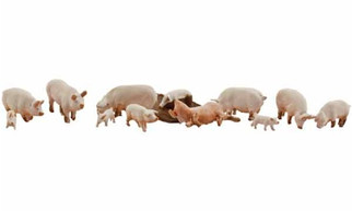 A1957 HO Woodland Scenics Yorkshire Pigs 13Pcs