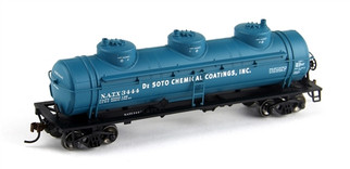 74464 HO Scale Athearn Trilple Dome Tank Car-De Soto Chemical NATx #3444