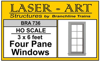 736 HO Branchline Laser-Art Four Pane Windows