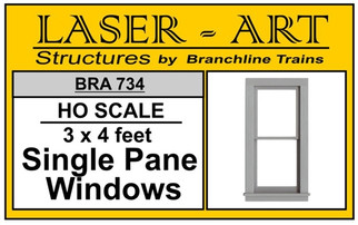 734 HO Branchline Laser-Art Single Pane Windows