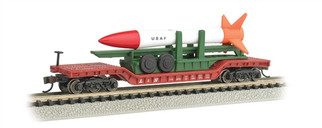 71391 N Scale Bachmann 52' Center Depressed Flatcar w/Missle