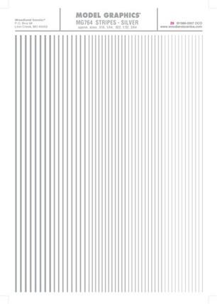 MG764 Woodland Scenics Co Dry Transfer Stripes Silver