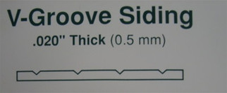 """4050 Evergreen Scale Models V-Groove .040 x 6 x 12,.050"""" Thick"""