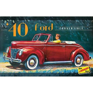 HL119 LIndberg '40 Ford Convertible 1/32 Scale Plastic Model Kit