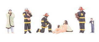 30-11060 O Scale MTH RailKing 6-Piece Figure  Set-Fire Scene