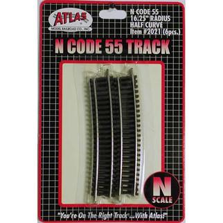 "2021 Atlas N Scale Code 55 Track 16.25"" Radius Half Section (6 pcs/pk)"