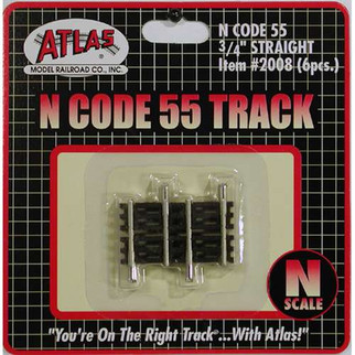 "2008 Atlas N Scale Code 55 Track .75"" Straight (6 pcs/pk)"