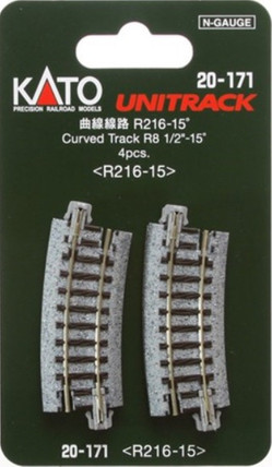 "20-171 Kato Unitrack N Scale  8-9/16"" Radius Curve 15 Degree (4)"
