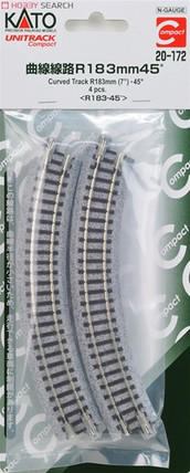 "20-172 N Scale KATO 7"" R Curve 45 Degree Track (4)"