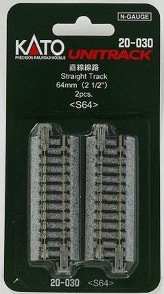 "20-030 Kato Unitrack N Scale  2-1/2"" Straight (2)"