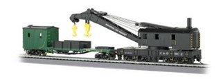 16122 Bachmann HO 250-TON STEAM CRANE & BOOM TENDER CHESAPEAKE & OHIO