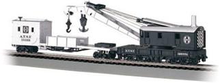 16102 Bachmann HO 250-Ton Steam Crane & Boom Tender Santa Fe