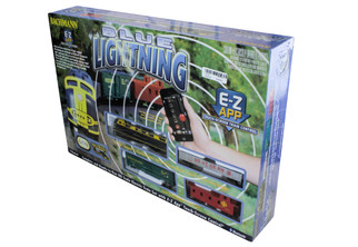 01501 HO Scale Bachmann Blue Lightning Train Set w/E-Z App Train Control