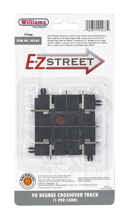 00268 O Williams by Bachmann E-Z Street(TM) 90 Degree Crossover Track (1) per Card