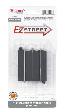 "00263 O Williams by Bachmann E-Z Street(TM) 2.5"" Straight to Straight Track (4) per Card"