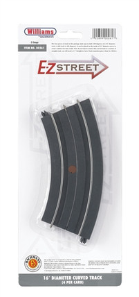 "00261 O Williams by Bachmann E-Z Street 16"" Diameter Curved Track (4) per Card"