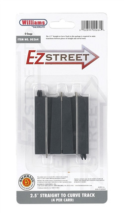 "00264 O Williams by Bachmann E-Z Street 2.5"" Straight to Curve Track (4) per Card"