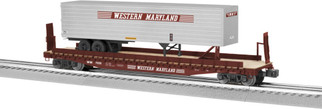6-82843 O Scale Lionel Western Maryland PS-4 Flat w/40' Trailer