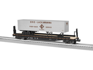 6-82841 O Scale Lionel Erie Lackawanna PS-4 Flat w/40' Trailer