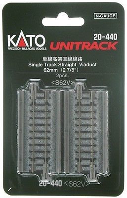 20-440 N Scale KATO Unitrack Single Track Straight Viaduct 2 7/8""