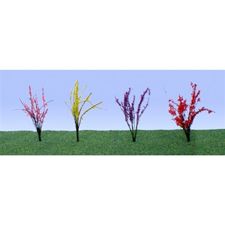 """95502 O Scale JTT Scenery  Flower Bushes 1"""" to 1 1/2"""" Tall Red, Pink, Yellow, Purple 48/pk"""