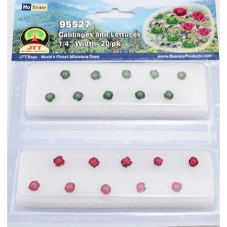 95527 HO Scale JTT Scenery Cabbages and Lettuces Green and Purple 20/pk