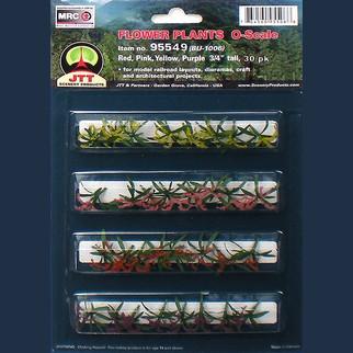 "95549 O Scale JTT Scenery Flower Plants 3/4"" Tall Red, Pink, Yellow, Purple 30/pk"