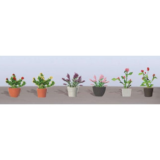 "95565 HO Scale JTT Scenery Assorted Potted Flower Plants 1, 5/8"" Height 6/pk"