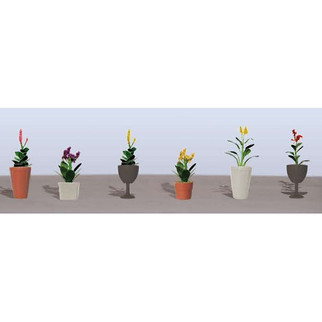 95571 HO Scale JTT Scenery Addorted Potted Flower Plants 4, 6/pk