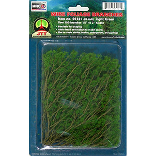 "95518 JTT Scenery Wire Foliage Branches Light Green 1.5"" - 3"" High, 60/pk"