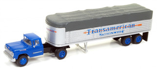 31170 HO Scale Classic Metal Works '60 Ford Tractor/Covered Wagon Set-Transamerican Trucking