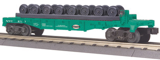 30-76694 O Scale MTH RailKing Flat Car w?Wheels Set-New York Central