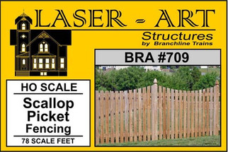 709 HO Scale Branchline Laser-Art Scallop Picket Fencing(For Model Train Layout)
