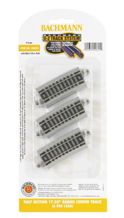 "44825 N Scale Bachmann Half Section 17.50"" Radius Curved Track(6 Per Card)"