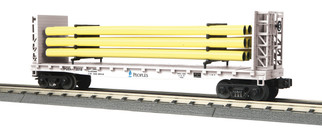 30-76715 O Scale MTH Railking Flat Car w/Bulkheads & Pipe Load-Peoples Gas(Yellow Pipes)