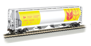 19136 HO Scale Bachmann Government of Canada -Yellow- 4-Bay Cylyndrical Grain Hopper