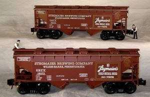96389 O Scale Ready Made Trains 4-Bay Covered Hopper-Stegmaier Beer