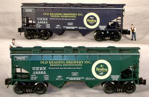 96390 O Scale Ready Made Trains 4-Bay Covered Hopper-Reading Ale (Green)