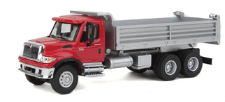 949-11662 HO Scale Walthers SceneMaster International 7600 3-Axle Hvy-Dty Dump Truck Red Cab w/Silver Dump Body