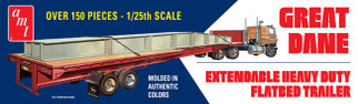 AMT1111 AMT Great Dane Extendable Heavy Duty Flatbed Trailer 1/25 Scale Plastic Model Kit