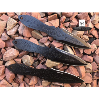 "3PC 6.5"" Dragon Etched Throwing Knife Set with Sheath Ninja Kunai Combat Sharp Throwers Outdoor Black - CUSTOM ENGRAVED"