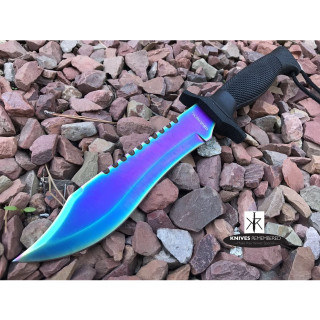 "12"" COUNTER-STRIKE JUNGLE CS GO FIXED Blade KNIFE Hunting Bowie MILITARY TACTICAL Saw Back Razor Blade w/Sheath Rainbow - CUSTOM ENGRAVED"