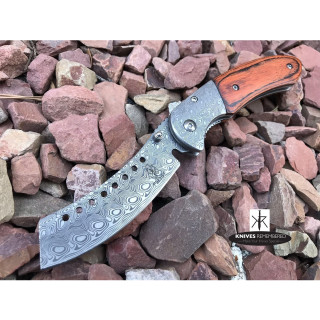 Buckshot Knives Thumb Open Spring Assisted Cleaver Classic Pocket Knife Damascus - CUSTOM ENGRAVED