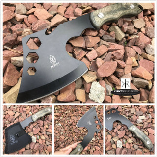 "11"" COMBAT OUTDOOR TOMAHAWK GUT HOOK THROWING AXE Tactical Battle Hatchet Hunting Hex Hole Zombie Survival Axe - Personalized Engraved"